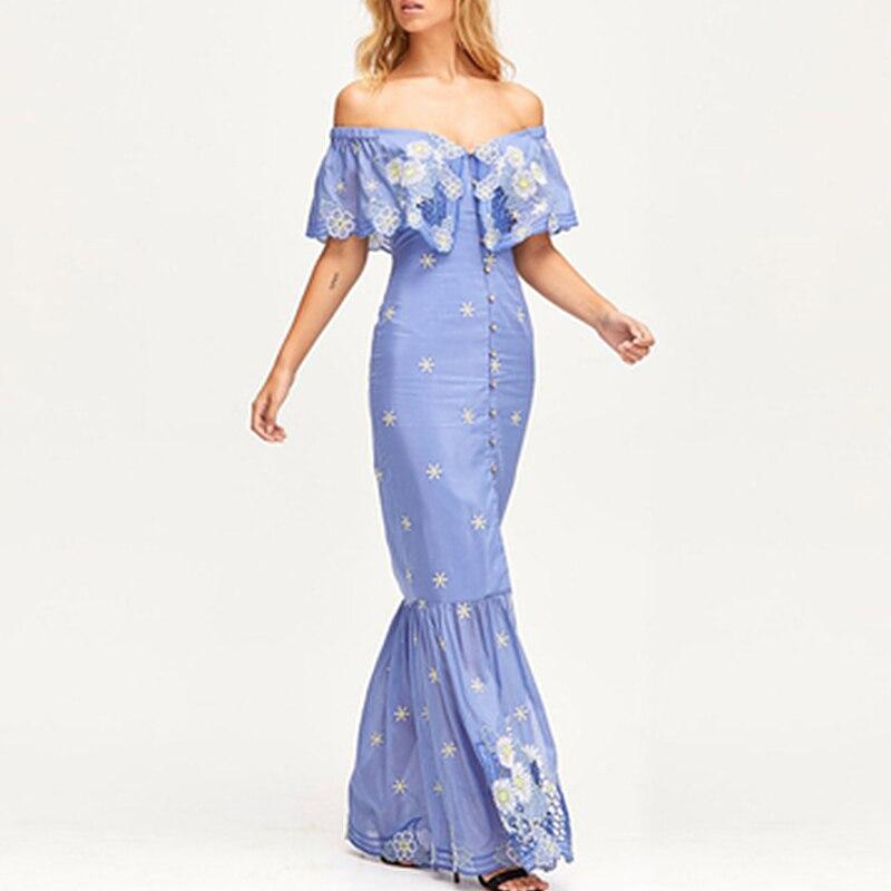 Piste 2019 Sexy Slash cou bretelles femmes longue robe élégante broderie bleu noir sirène robe Club partie femme Maxi robe