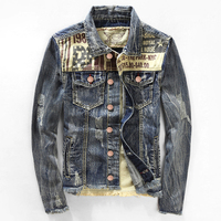Winter Fall Vintage Casual Mens Slim Fit Fleece Long Sleeve Denim Jackets And Coats Male Thick