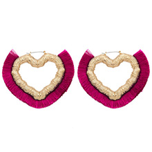 Fashion bohemian statement big tassel earrings Heart-shaped Long Fabric Fringe bohemia for women