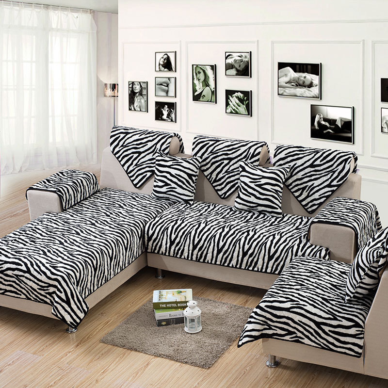 Zebra Flannel 2 4 3 Seat Sofa Slipcover Sectional Fabric