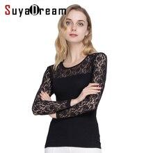 Женская шелковая блузка рубашка с длинным рукавом пикантные кружевные прозрачные 70% шелк 30% хлопок Новинка осени 2017 черный, белый цвет