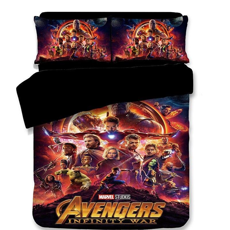 Marvel Avengers Alliance 3D ensemble de literie fer homme Double reine roi Hulk Thor noir veuve couette ensembles de literie linge de lit