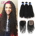 8a Top Mongolian Kinky Curly Hair With Closure Kinky Curly Virgin Hair with Closure Afro Kinky Curly Hair 3 Bundles with Closure