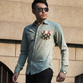spring autumn new male long sleeve 80-89% cotton casual shirts men solid color slim jeans shirt men denim shirts
