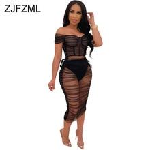Black Mesh Patchwork Sexy Bodycon Dress Women Slash Neck Short Sleeve See Through  Summer Off Shoulder Backless Club