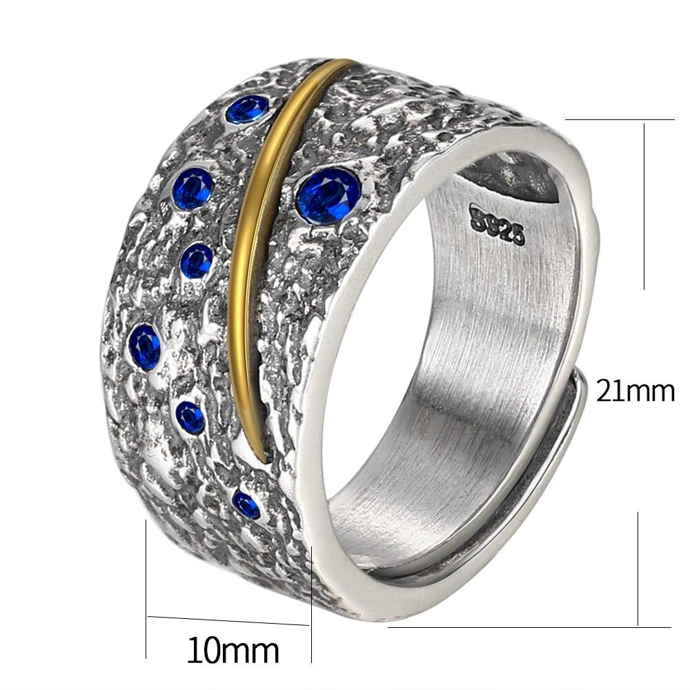 Image 5 - Мужское кольцо V.YA, из стерлингового серебра 925 пробы с синим циркониемКольца   -