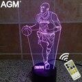 NBA Kobe 3D lámpara de Mesa Táctil de 7 Colores Cambio de Luz 3D bryant 3d led novelty 3d night lights decoración mejor para los niños regalos