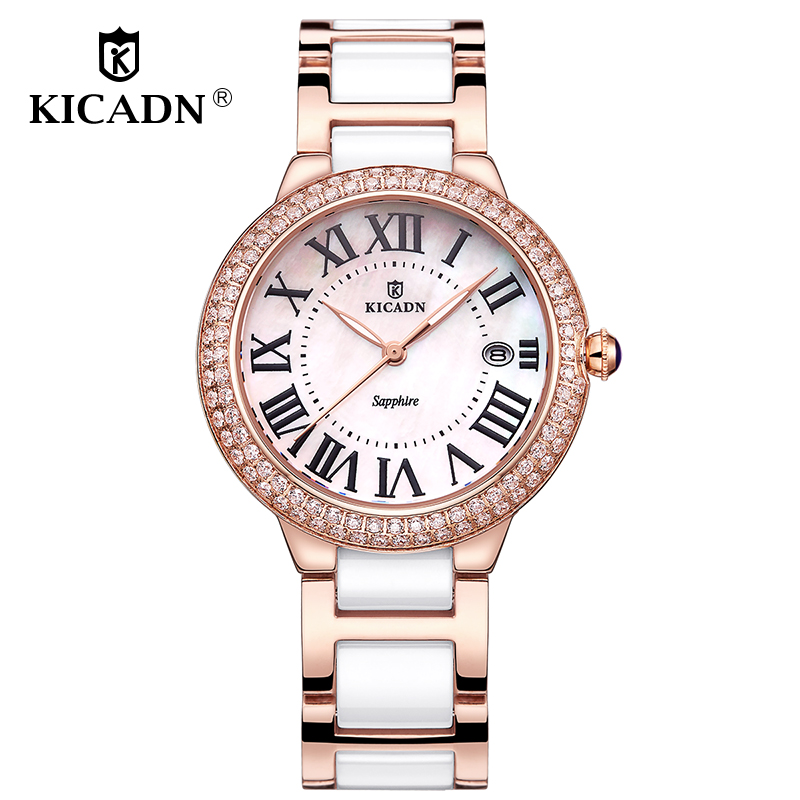 KICADN Ladies Fashion Watch Women Watches Luxury Brand Ceramic Band Watch Casual Female Quartz Watches Clock Relogio Feminino shengke women watches luxury leather strap quartz ladies watch simple fashion female bracelet wristwatch clock relogio feminino