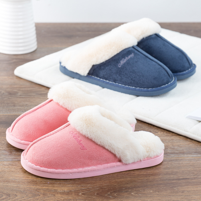 Women House Slippers Winter Warm Shoes Women Slip-on Suede Fur Plush House Slipper Indoor Bedroom Couples Memory Foam Home Shoes 2