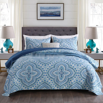 Free shipping 2/3pcs bohemian style patchwork quilt sanding bedspread twin full queen king size printed blue floral bed cover AL