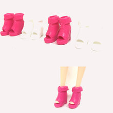 5Pairs/set Kid Toy Gifts Girl Doll Shoes 2 Colors Bandage Fish mouth High Heel Sandals for Dolls Accessories(China)