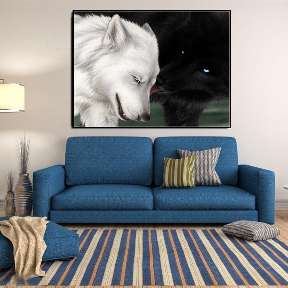 Schwarz Weiß Wolf 5D Diamant Malerei DIY Kreuzstich Teil Strass ...