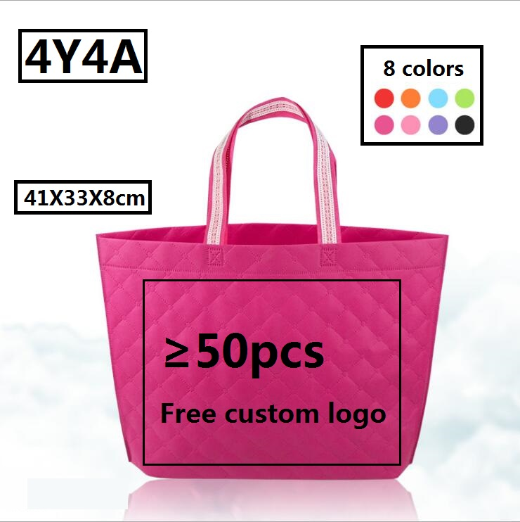 [4Y4A] 100pcs Accept Custom Logo Friendly Grocery  Fabric Non-woven Clothing Bags Waterproof Portable Travel Shoulder Bag
