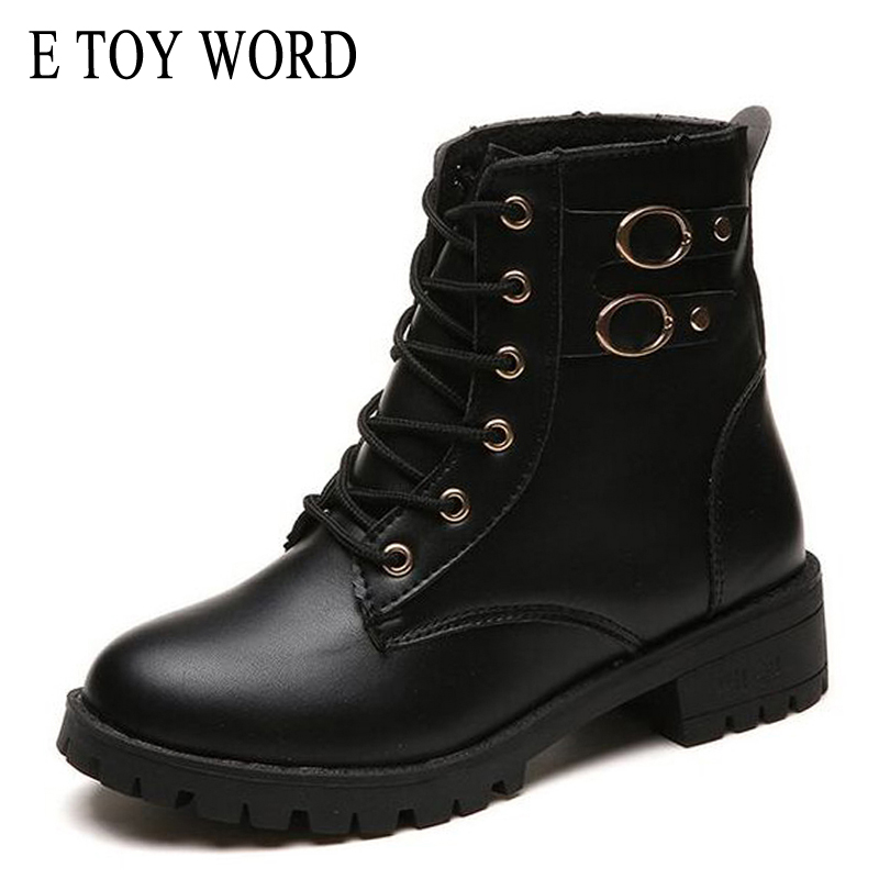 E TOY WORD Motorcycle Boots Women Vintage Rivet Combat Army Punk Black Ankle Boots for women Biker Leather Autumn women boots army green rivet