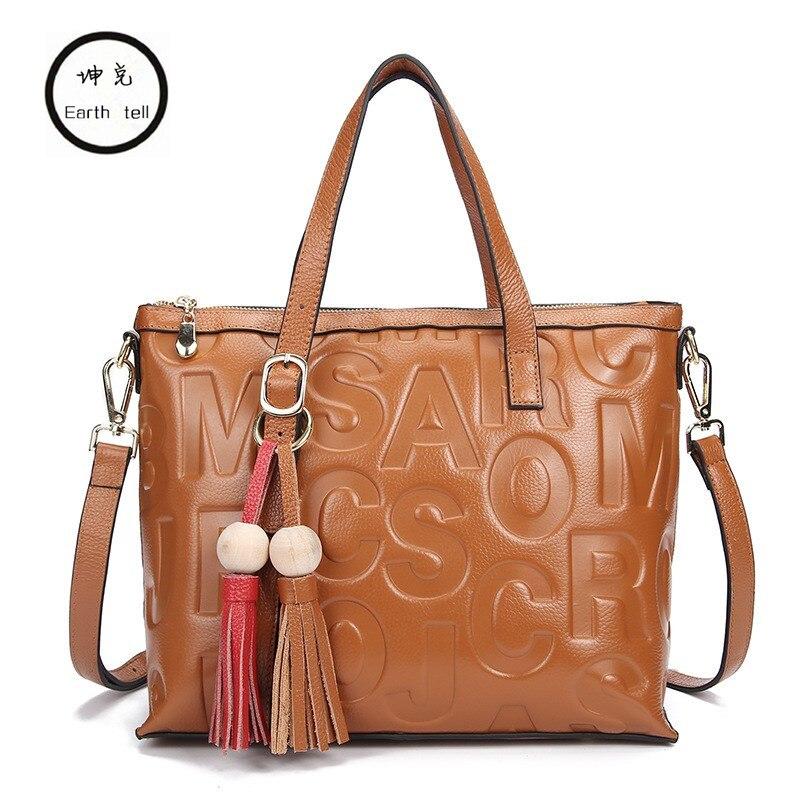 Fashion Casual Women Retro Handbag Genuine Leather Tote Bag Female Shoulder Large Capacity Hand Bags Mujer Tassel Leisure Totes