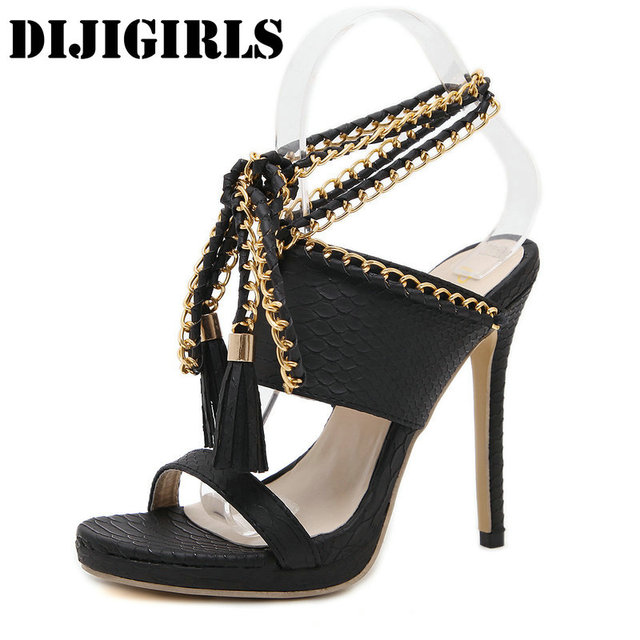 ed12b2719f9d Women Tassel Sandals Ankle Strap Weave High Heels Fashion Sexy Open Toe  Sandals Metal Chain Lace-Up Ladies Shoes Stiletto