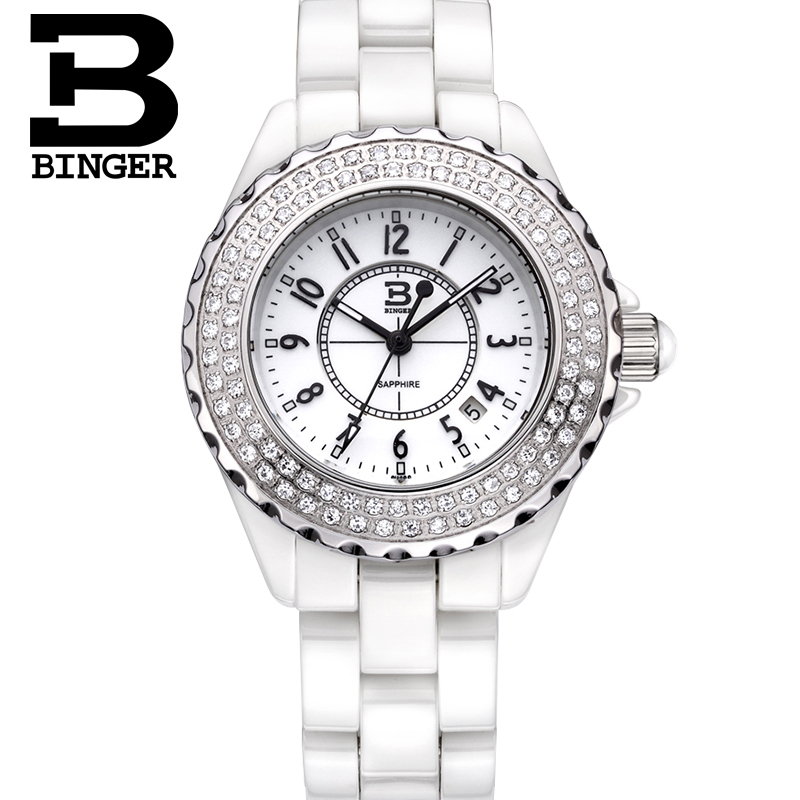 Switzerland luxury brand Wristwatches Binger ceramic quartz Womens watches 100M Water Resistance B8008BSwitzerland luxury brand Wristwatches Binger ceramic quartz Womens watches 100M Water Resistance B8008B