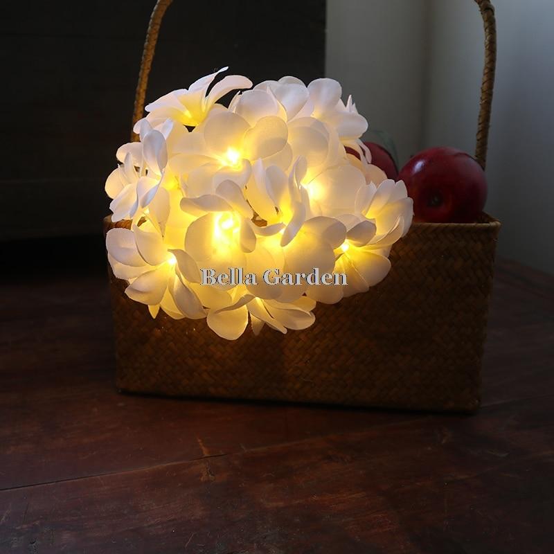 220 v 5 m 28led frangipani LED corda luzes bateria luz de fadas - Iluminação festiva - Foto 3