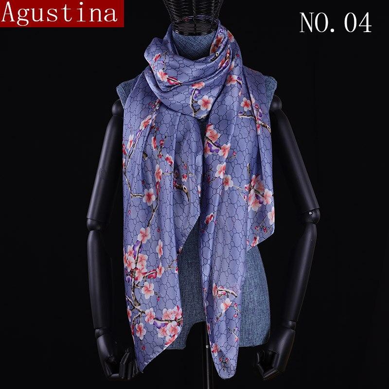 Plum blossom flower silk scarf luxury brand 2018 scarf women summer designer foulard scarve stoles scarfs shawl wrap long shawls