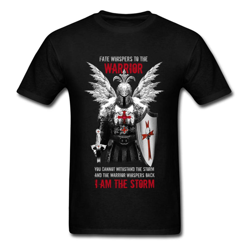 Fashion Men T Shirt Knights Templar Warrior Print Manly Male Black Tops Tees Pure Cotton No Fade Vintage Design T-shirt