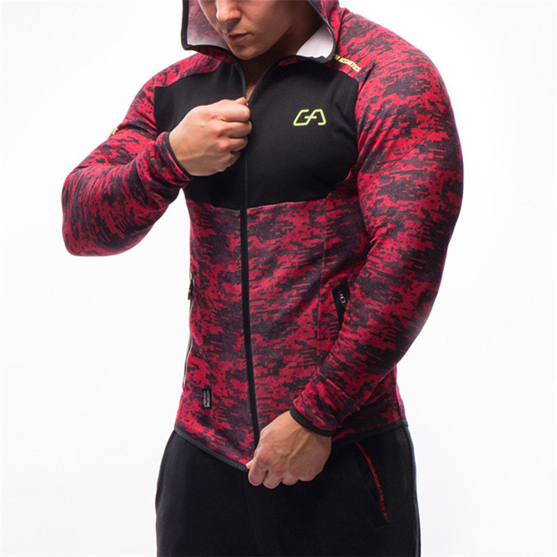 Men Fitness Bodybuilding Camouflage Sweatshirt Hoodie Gyms Workout Hooded Zipper Jacket Male Joggers Sportswear Brand Clothing
