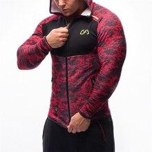 Men fitness bodybuilding Camouflage sweatshirt Hoodie Gyms workout Hooded zipper jacket male Joggers Sportswear Brand clothing