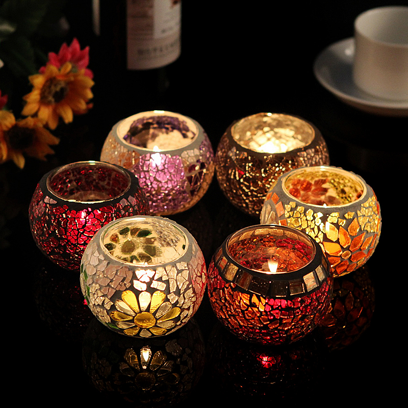 Free Shipping Mosaic Candle Holders Decorative For Tealight Wedding Centerpiece Holder Event Party Bar Light Home Decor