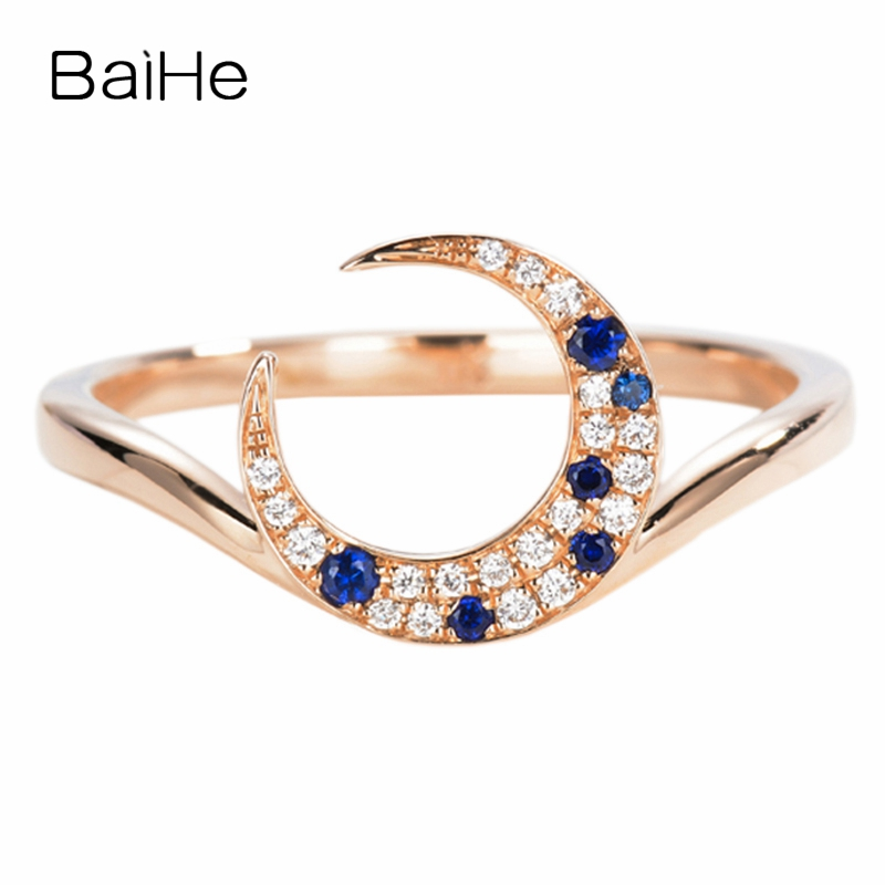 BAIHE Solid 14K Rose Gold 0.05ct Certified H/SI Round Genuine Natural Diamonds Sapphirs Wedding Women Trendy Fine Jewelry Ring