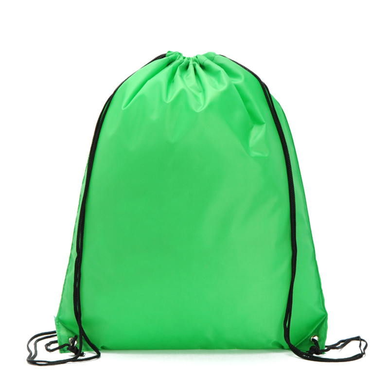 Free Shipping Nylon Pure Green Color Soft Backpacks Storage Bag For Shoes And Clothing With Drawstring Closure Zz230 In From Luggage Bags On