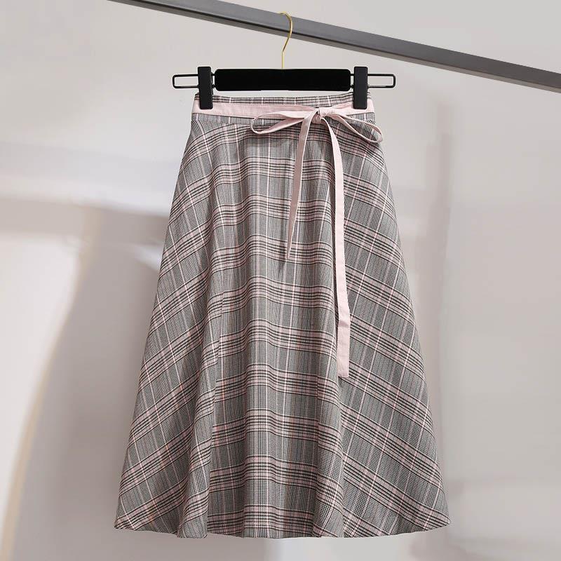 2019 koreański styl wysokiej talii spódnica w kratę panie Chic A-Line spódnice midi kobiet wiosna zasznurować spódnica Vintage jesień Spodnica 1