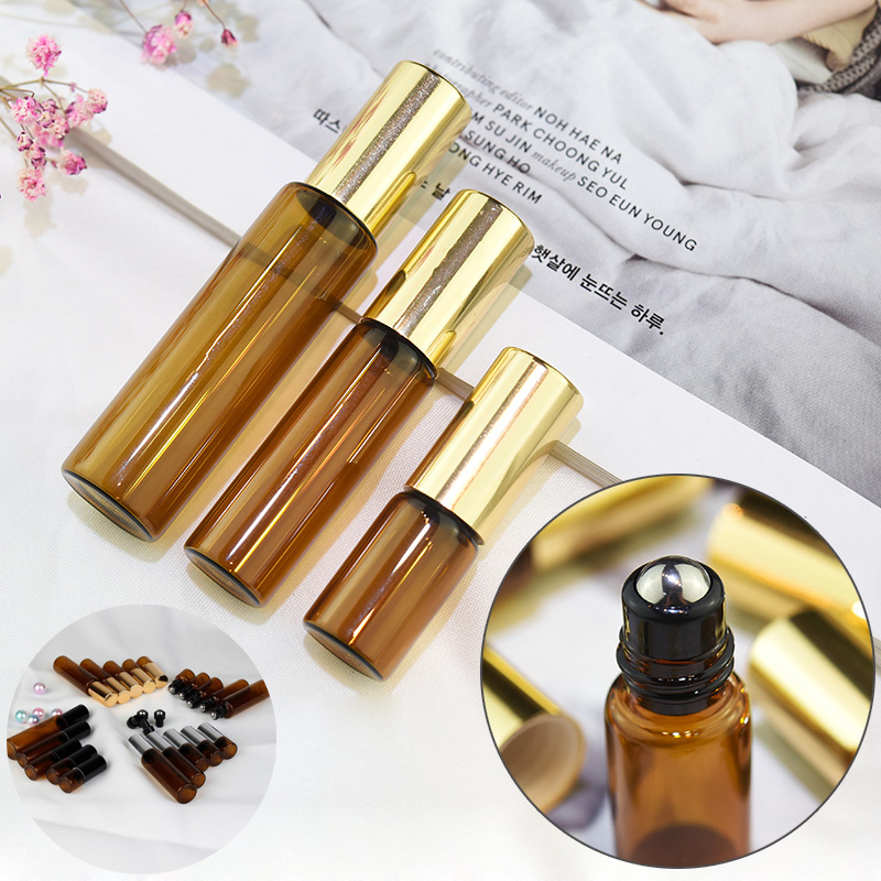5pcs 1/2/3/5/10ml Amber Glass Essential Oil Perfume Roller Ball Bottle Roll On Vials Travel Cosmetic Aromatherapy Containers