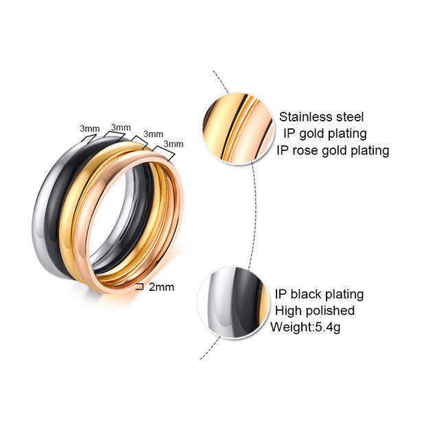 Высококачественные кольца из нержавеющей стали 3 мм для женщин
