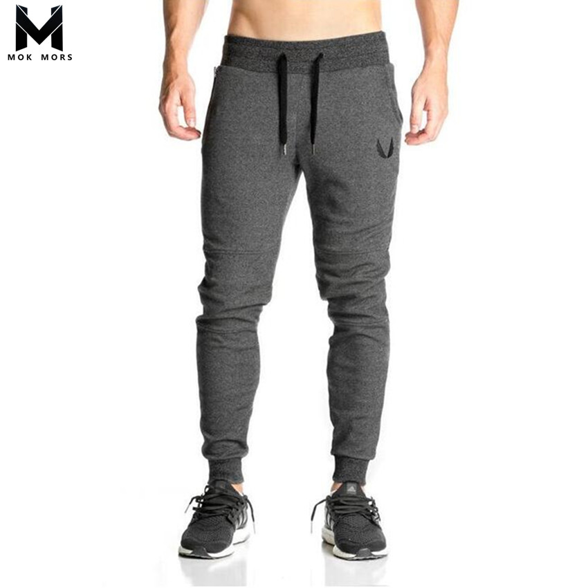 Cotton Men Full Sportswear Pants Casual Elastic Cotton Mens Fitness Workout Pants Skinny Sweatpants Trousers Gyms Jogger Pants(China)