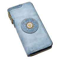 Handmade 2018 Original Women Cow Leather Wallets Lady Pink Bag Purses Long Clutch Vegetable Tanned Leather Wallet Card Holder