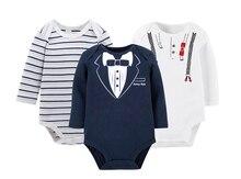 3pcs lot Newborn Baby Romper Winter overalls Long Sleeve Cotton Baby boy girl Rompers Roupas bebe