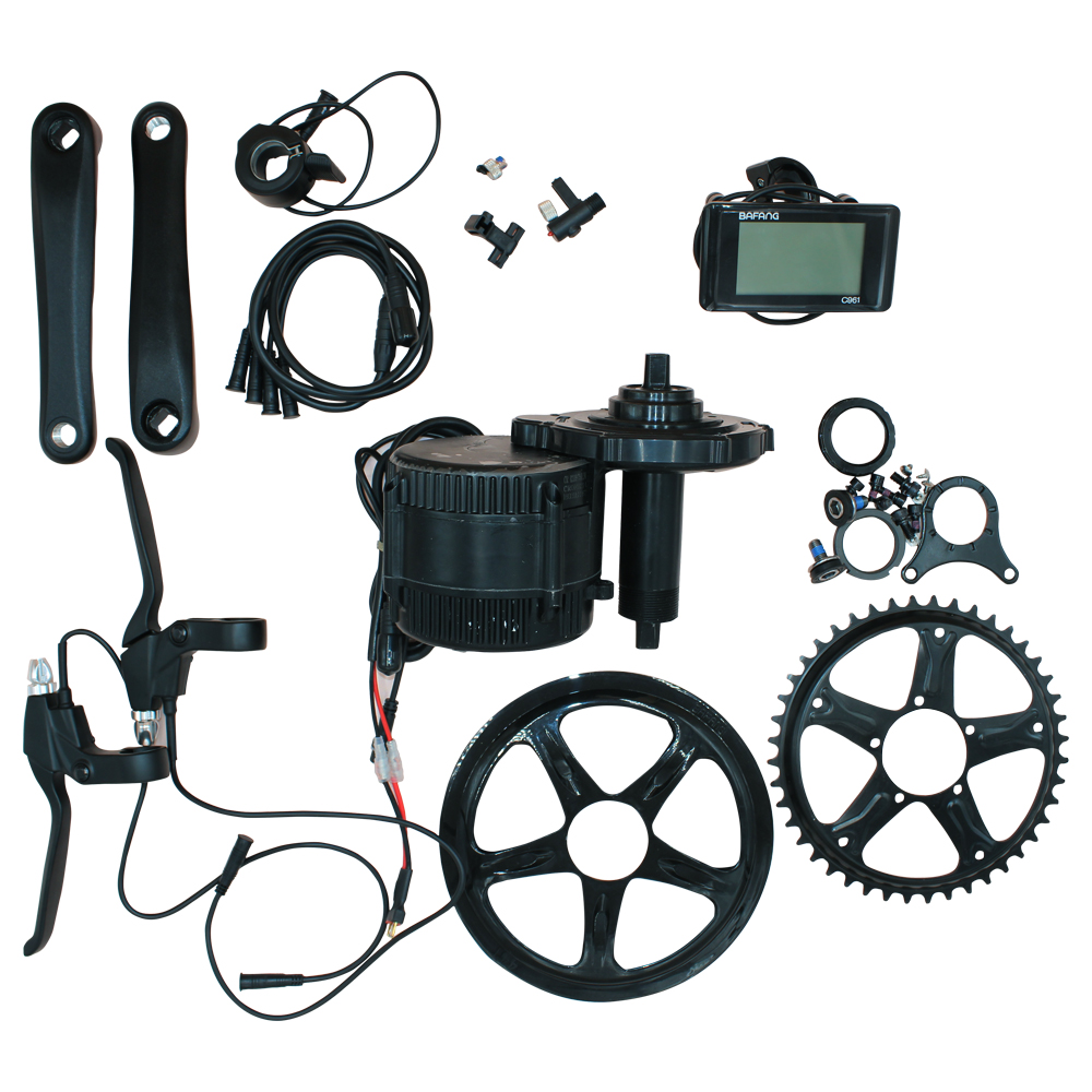 BAFANG Electric Bicycle Motor 8fun Mid Drive Motor Kit BBS01 BBS02 36v 48v 250W 350W 500W 750W 46T c961 LCD Display image