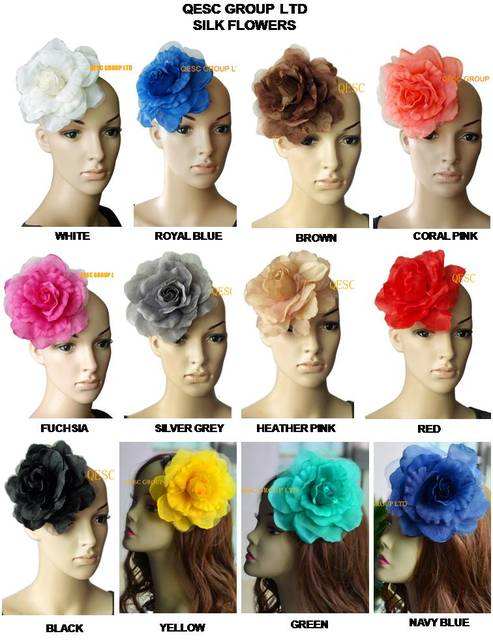 12 colors can pick. 16cm silk flower for millinery,fascinator and hair accessory,with brooch pin hair clip.
