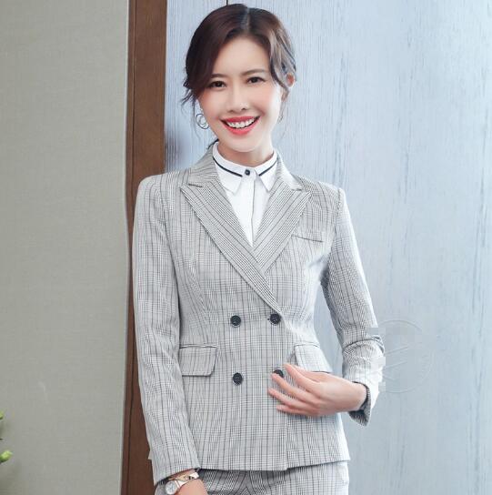 Women fashion pant suit stripe jacket+pant Double Breasted formal business work office ladies Workeep Plus size Women blazer set