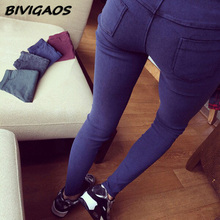 2016 Spring Autumn New Fashion Skinny Slim Thin High Elastic Waist Washed font b Jeans b