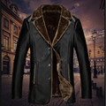 Male winter leather jacket men lapel middle-aged men Peacey plus thick velvet men's fur best gift Christmas Gift your father PU