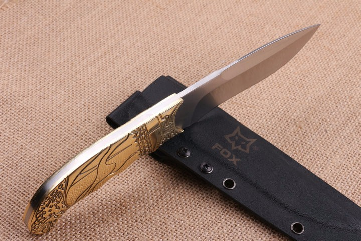 Buy FOX Camping Survival Fixed Knives,5Cr15Mov Blade Copper Handle Tactical Knife,Hunting Knife. cheap