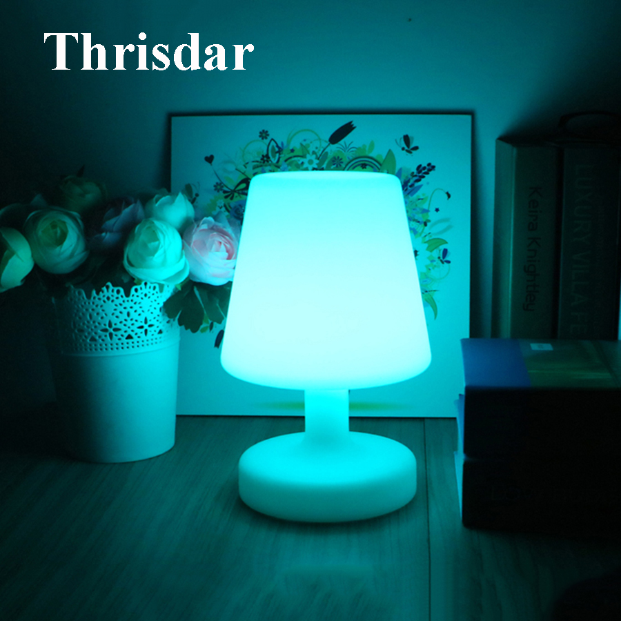 Thrisdar 16 Color LED Bedside Atmosphere Night Light Lamp USB Rechargeable Table Lamp LED Illuminated KTV Hotel Bar Table Light free shipping plastic rechargeable battery illuminated christmas led snowman night table lamp led baby night light for gift
