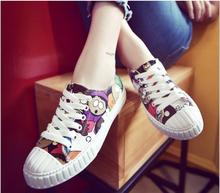 Free shipping!!!   2016 new women's shoes in Europe and America Cartoon lovely flat canvas shoes comfortable lace tact Low shoes