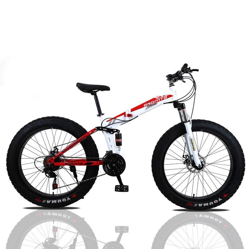 VTT 24/26 pouces vélo de route pliant Double freins à disque pliant VTT s étudiant vélo 4.0 large roue gros pneu