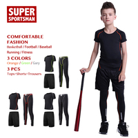 Mens Training Tracksuit Children Fitness Compression Set Kids Boy Running Tights Sports Suits Workout Gym Shirts Sportswear 2pcs