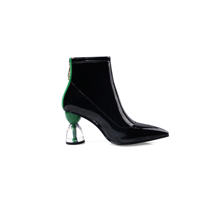 Image 3 - MORAZORA 2020 new fashion high heels party shoes women ankle boots patent leather autumn boots zip unique Short Boots woman-in Ankle Boots from Shoes