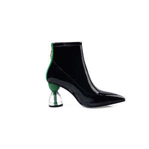Image 3 - MORAZORA 2020 جديد كعوب عالية على الموضة أحذية الحفلات النساء حذاء من الجلد براءات الاختراع والجلود الخريف الأحذية البريدي فريد أحذية بوت قصيرة امرأة
