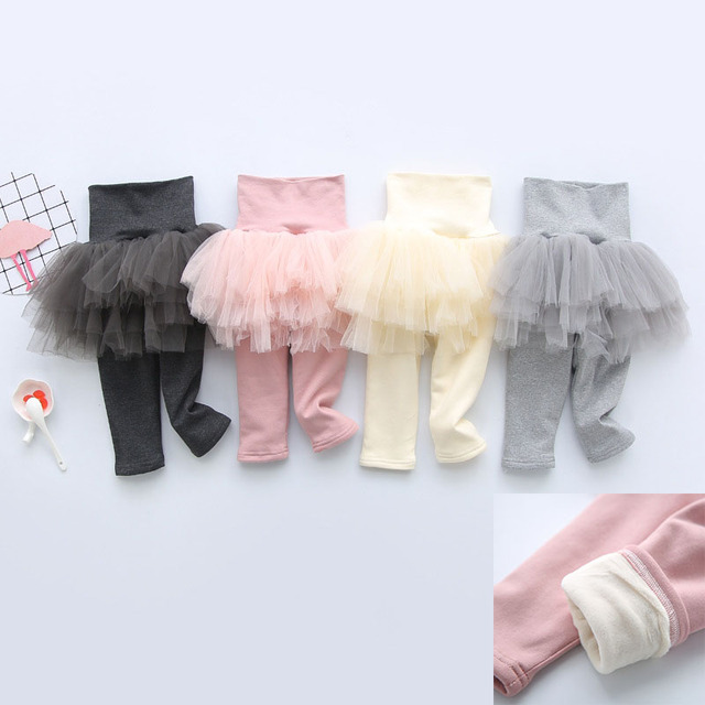2a5be95dff933 winter warm thicken cotton leggings fleece with skirt tutu baby infant  toddler newborn girl tights leg warmer 6 9 12 18 months