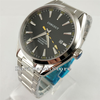 41mm Corgeut Black Dial Sapphire crystal steel bracelet Automatic Watch 2864