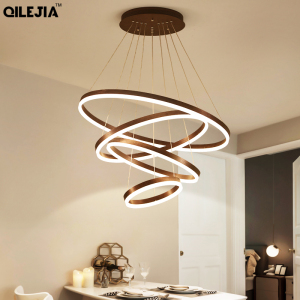 Image 3 - Modern chandelier for living room Brushed Coffee Circular Rings In Coffee LED Chandelier for Living Room Suspension Lamp Fixture